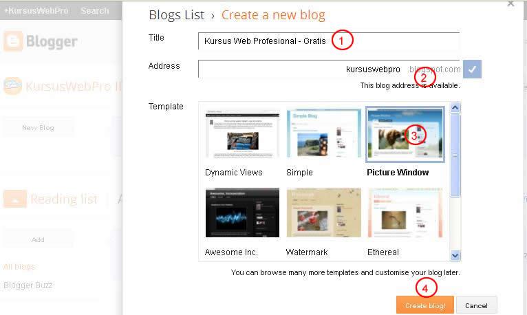 Kursus Blog via Blogspot