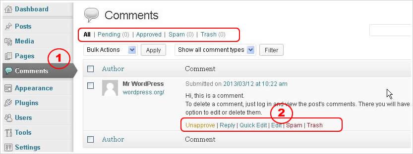 Cara mengelola komentar wordpress
