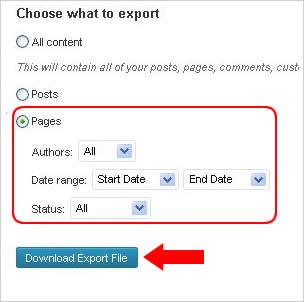 Cara Eksport Konten wordpress