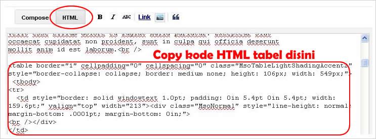Cara memasukkan tabel microsoft word ke postingan blog