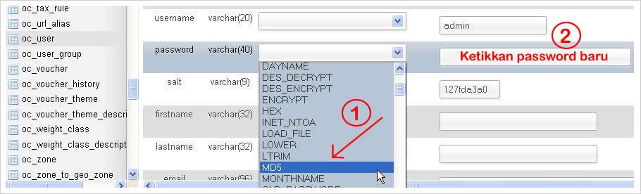 Cara Reset Password Administrator Opencart