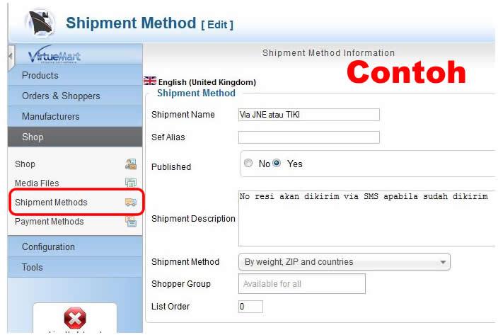 cara setting metode pengiriman toko online virtuemart